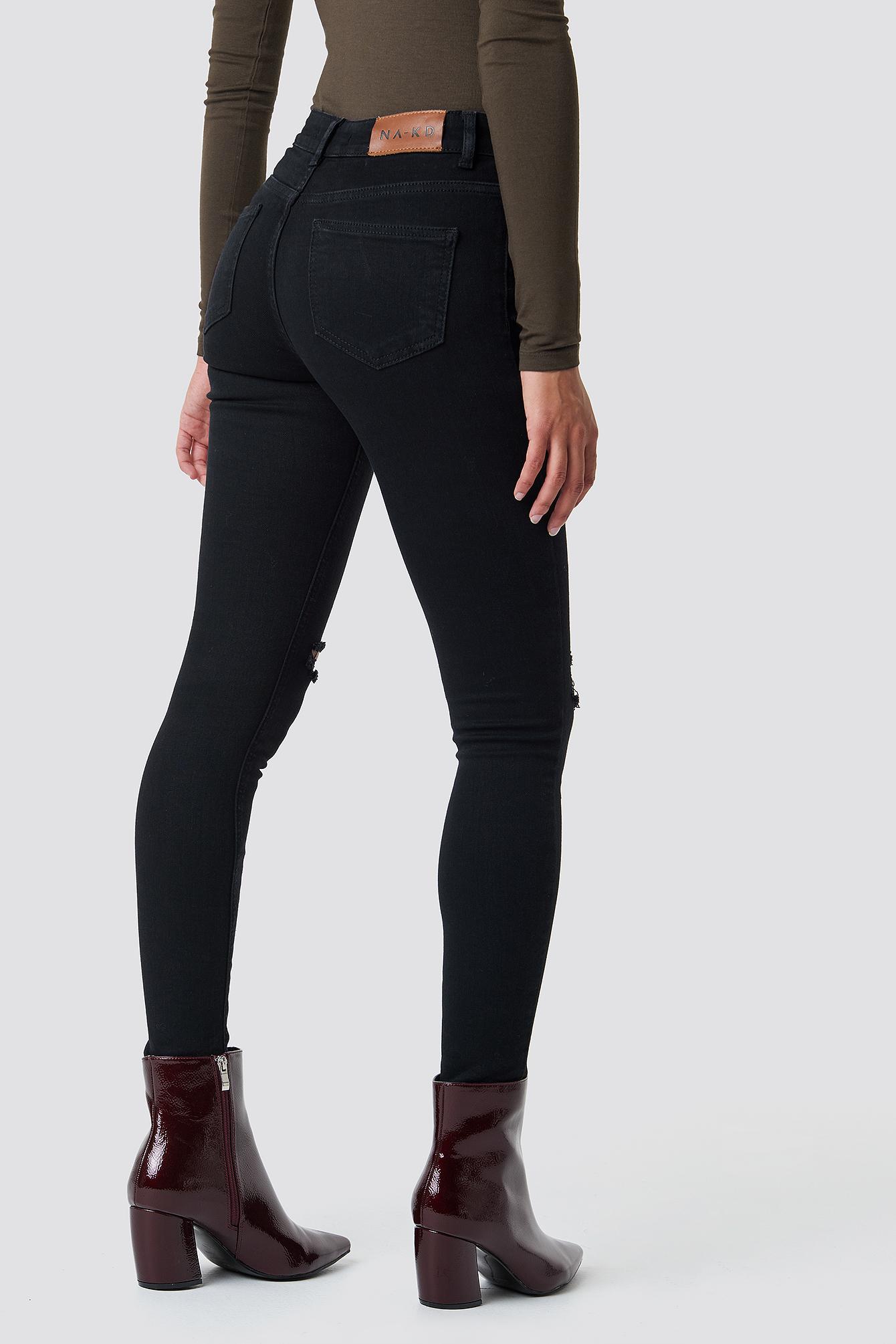 Skinny Mid Waist Destroyed Jeans NA-KD.COM