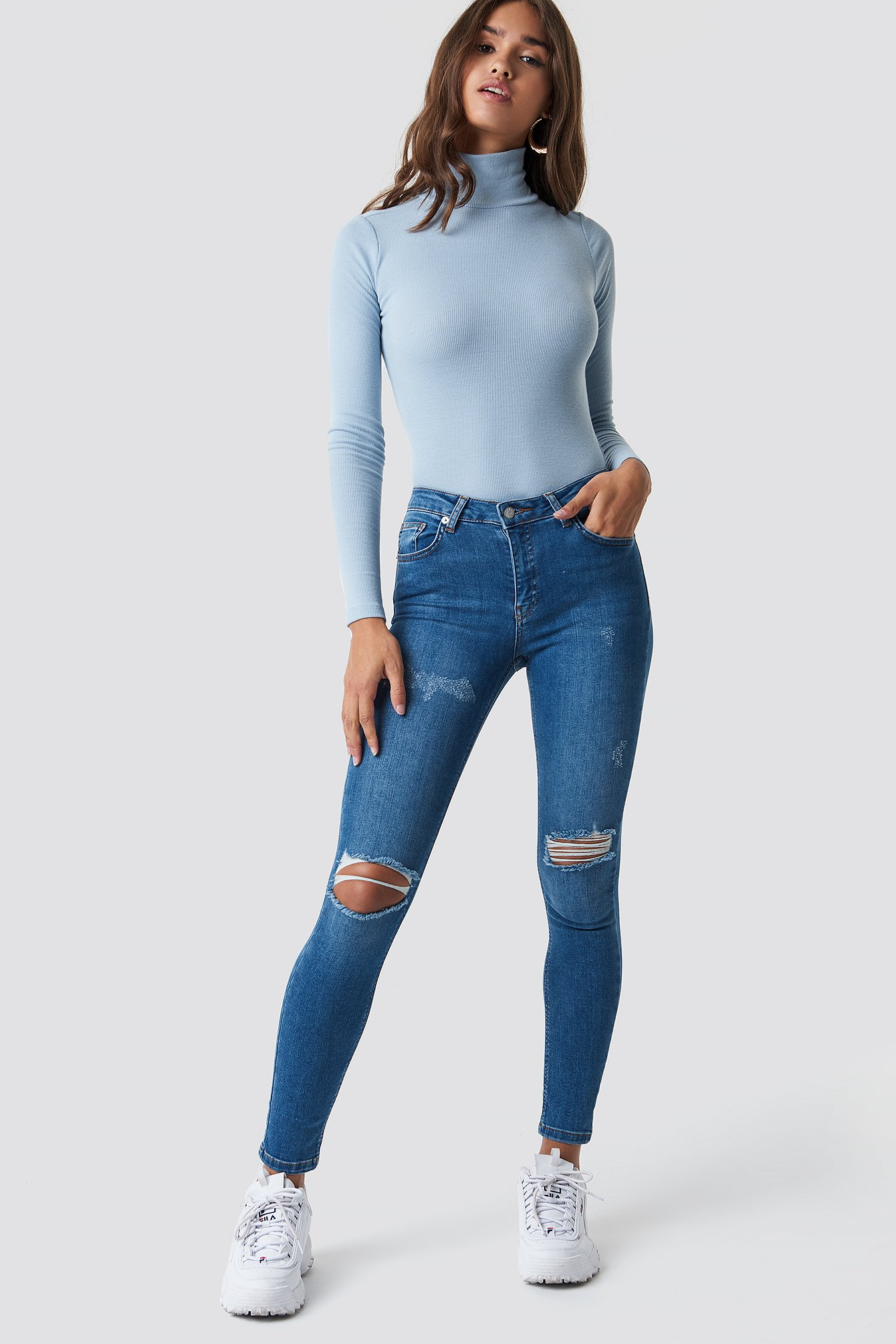 Mid Blue Skinny Mid Waist Destroyed Jeans