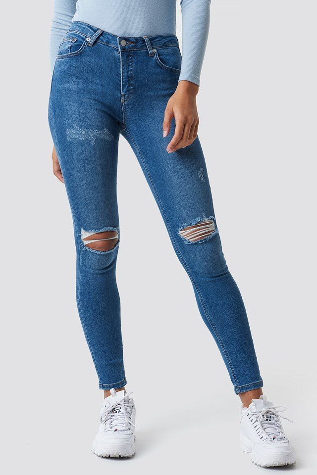Skinny Mid Waist Destroyed Jeans Mid Blue