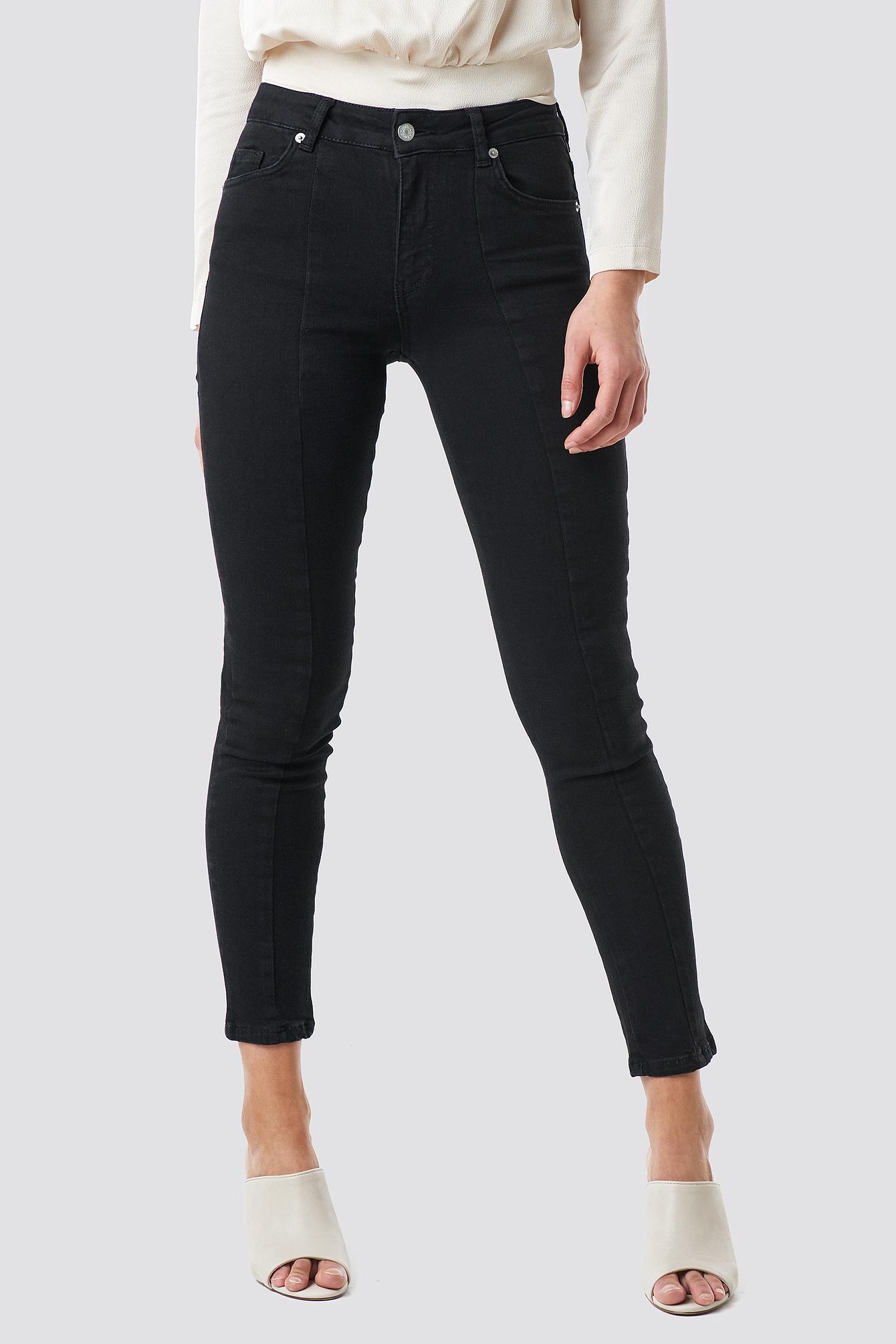 Skinny Mid Waist Front Panel Jeans NA-KD.COM