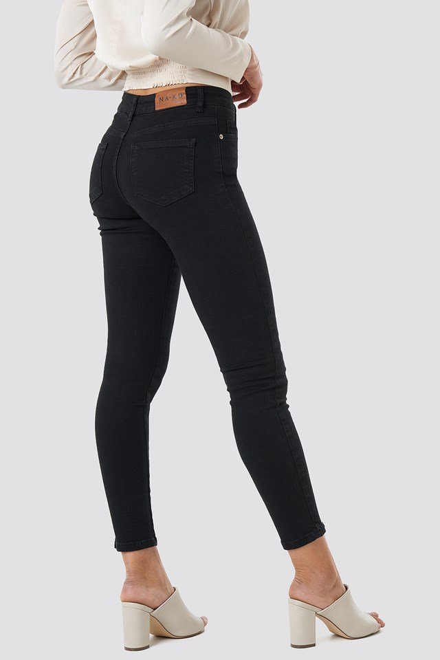Skinny Mid Waist Front Panel Jeans Black