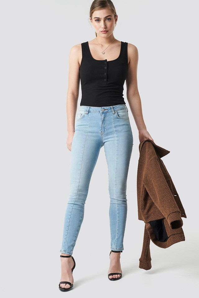Skinny Mid Waist Front Panel Jeans Light Blue