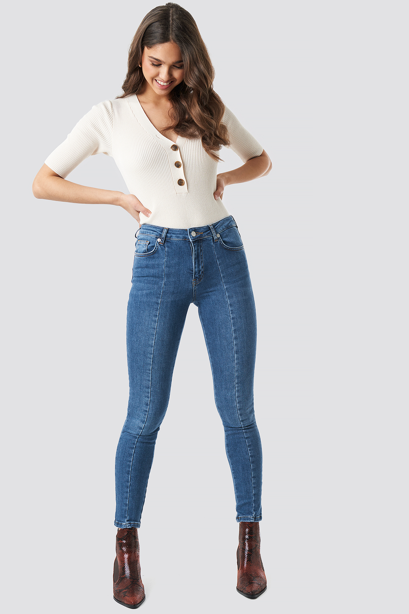Skinny Mid Waist Front Panel Jeans NA-KD.COM