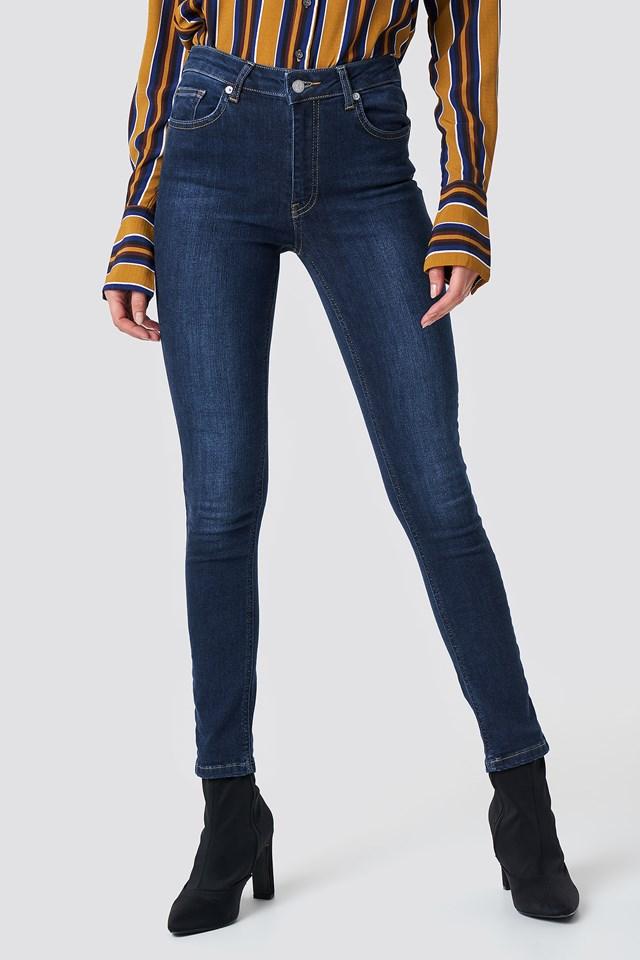 Skinny Mid Waist Jeans Dark Blue