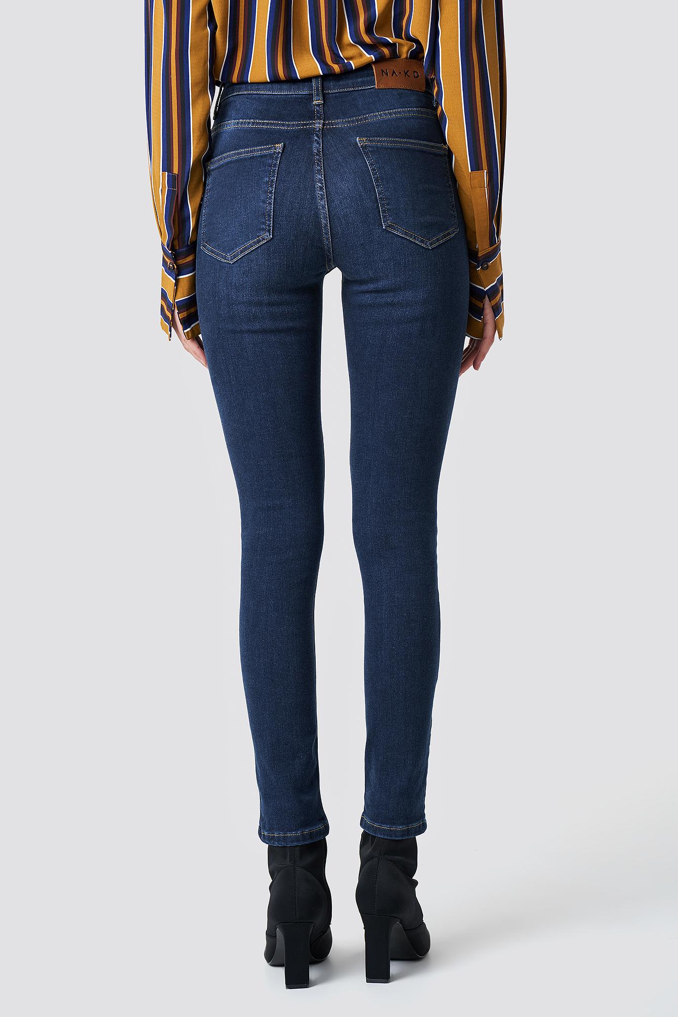 Skinny Mid Waist Jeans NA-KD.COM