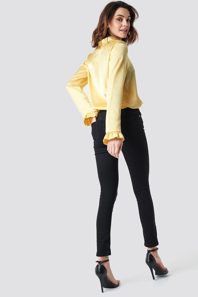 Skinny Mid Waist Jeans Black