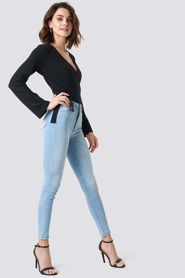 Skinny Mid Waist Jeans Light Blue