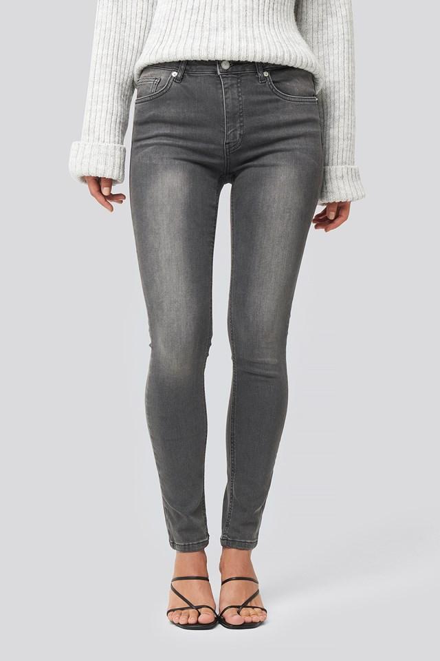 Skinny Mid Waist Jeans Grey