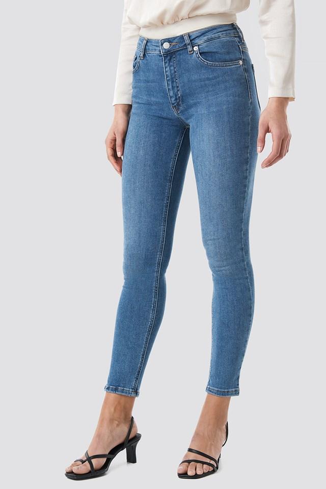 Skinny Mid Waist Jeans Mid Blue