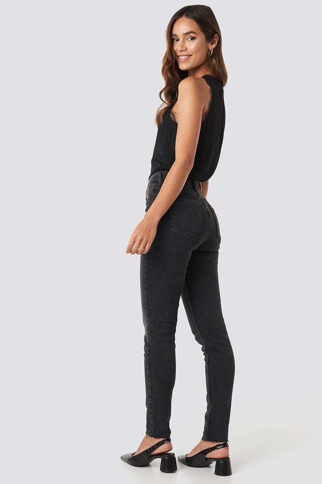 Skinny Raw Hem Jeans Black