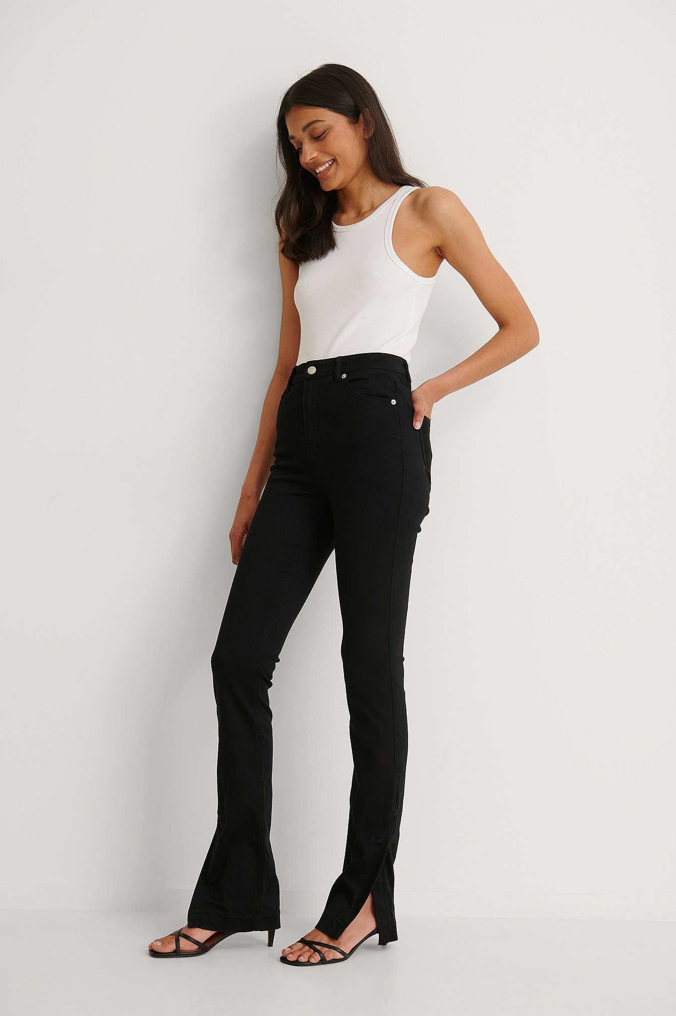 Black Skinny Side Slit High Waist Jeans
