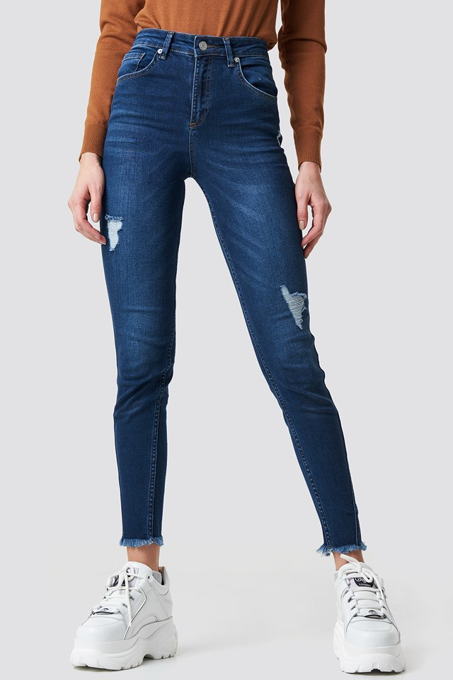 Skinny Twisted Jeans Dark Blue