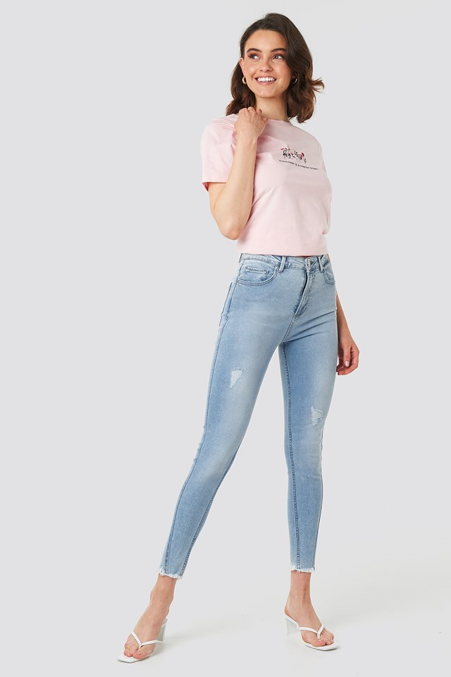Skinny Twisted Jeans Light Blue