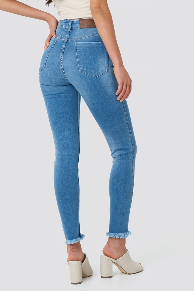 Skinny Twisted Jeans Mid Blue