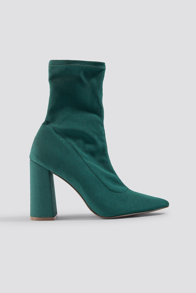 Slanted Heel Sock Boots Dark Green
