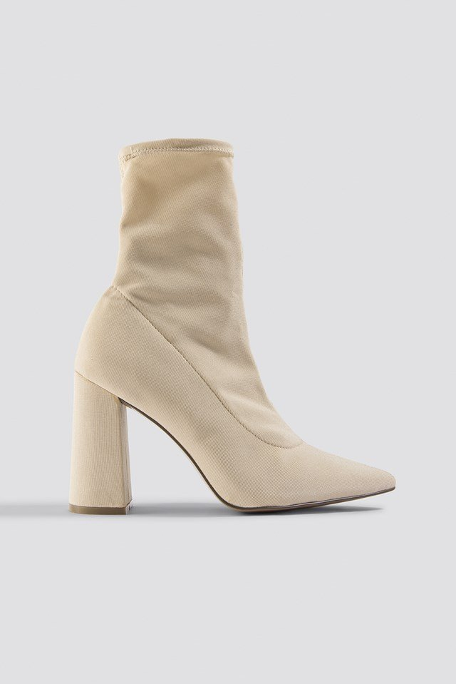 Slanted Heel Sock Boots Cream