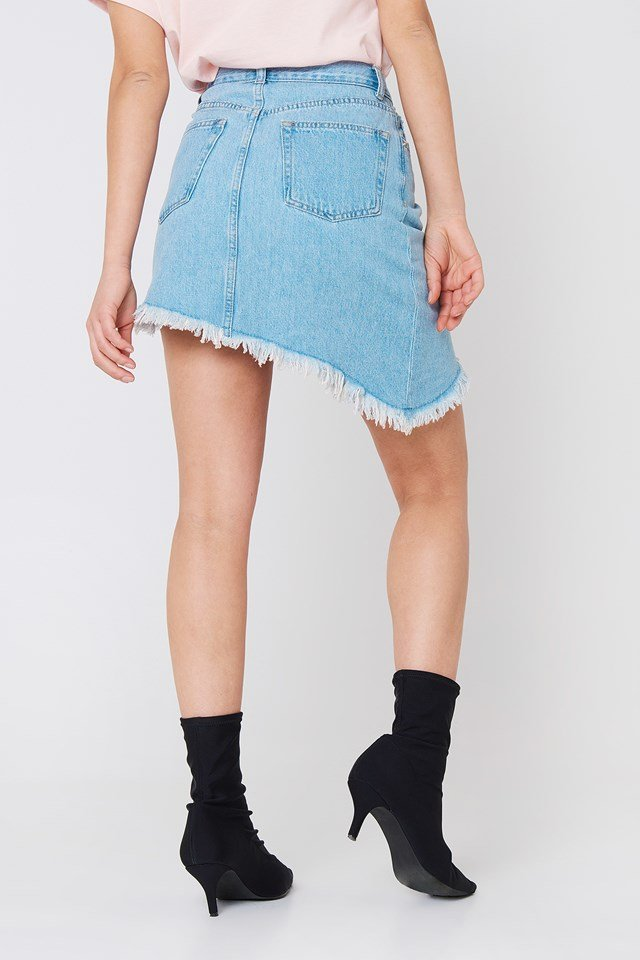 Slanting Hem Denim Skirt Light Blue