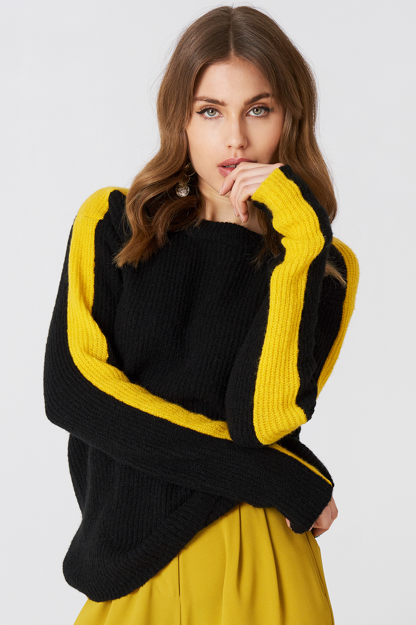 Contrast Sleeve Knitted Sweater NA-KD.COM