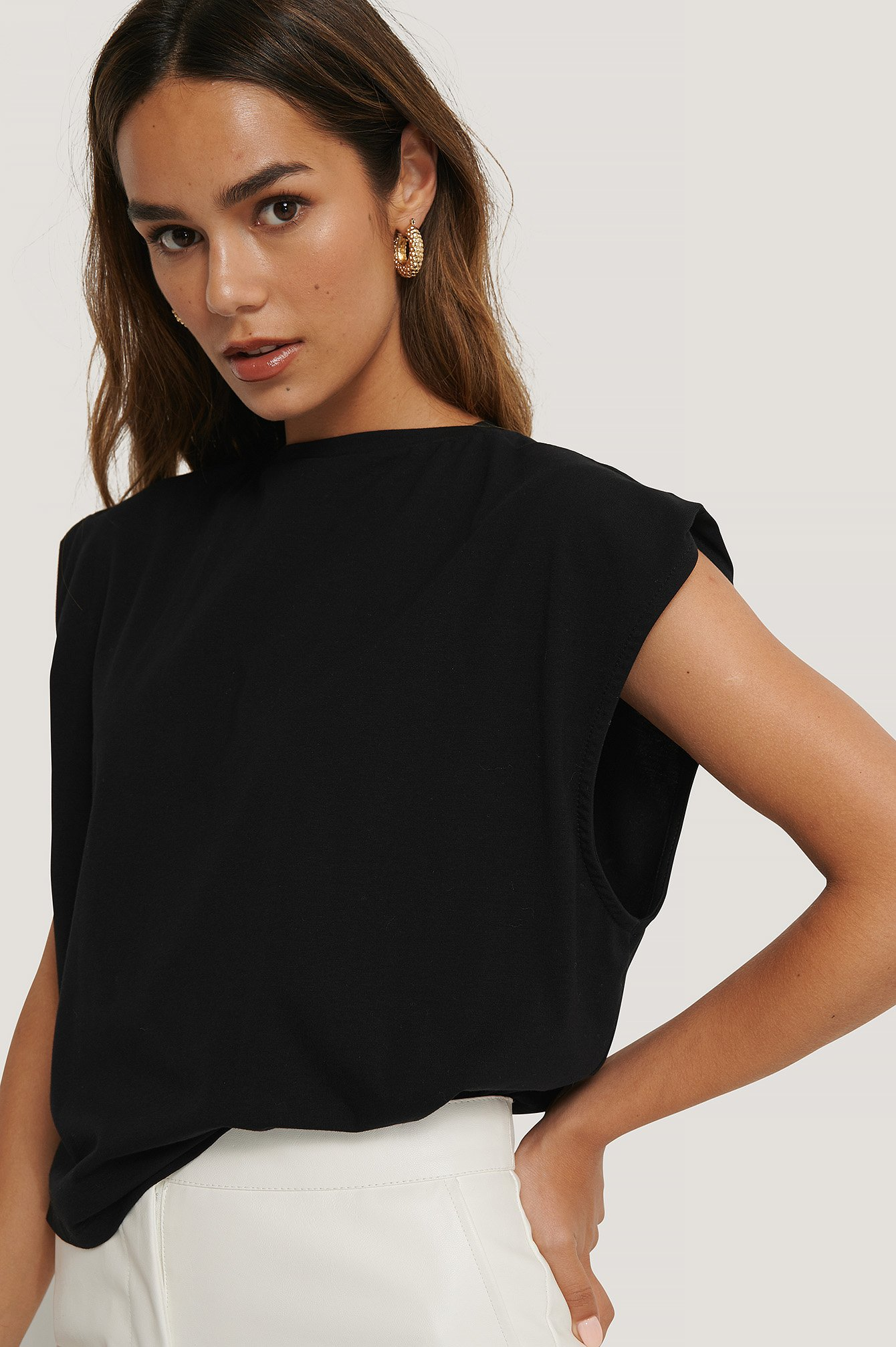 Black Sleeve Detail Top