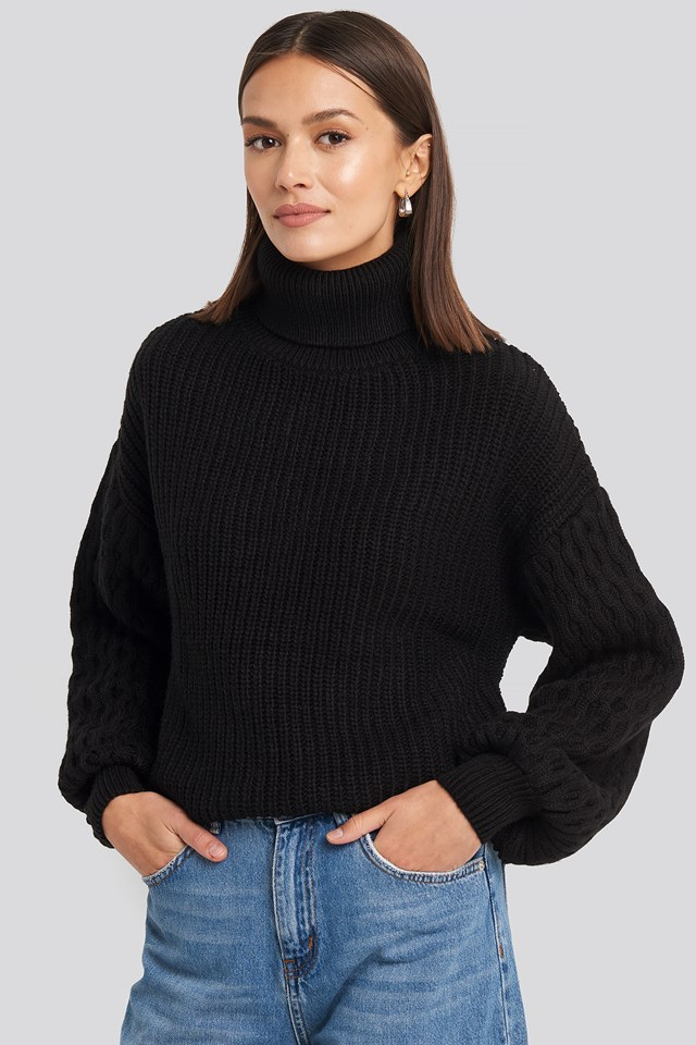 Sleeve Detailed Knitted Polo Sweater NA-KD Trend
