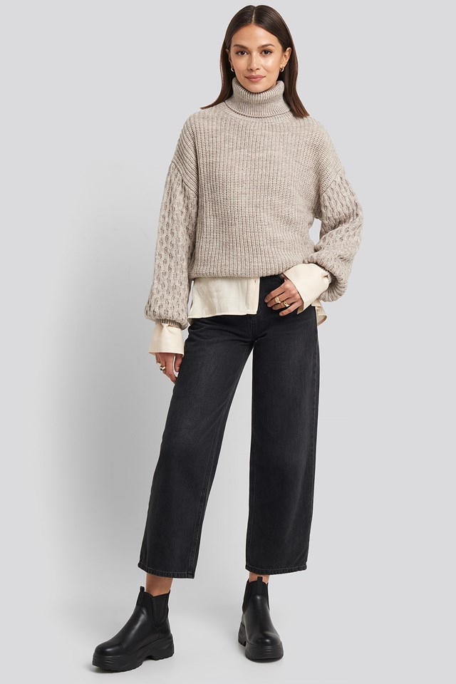 Sleeve Detailed Knitted Polo Sweater Beige
