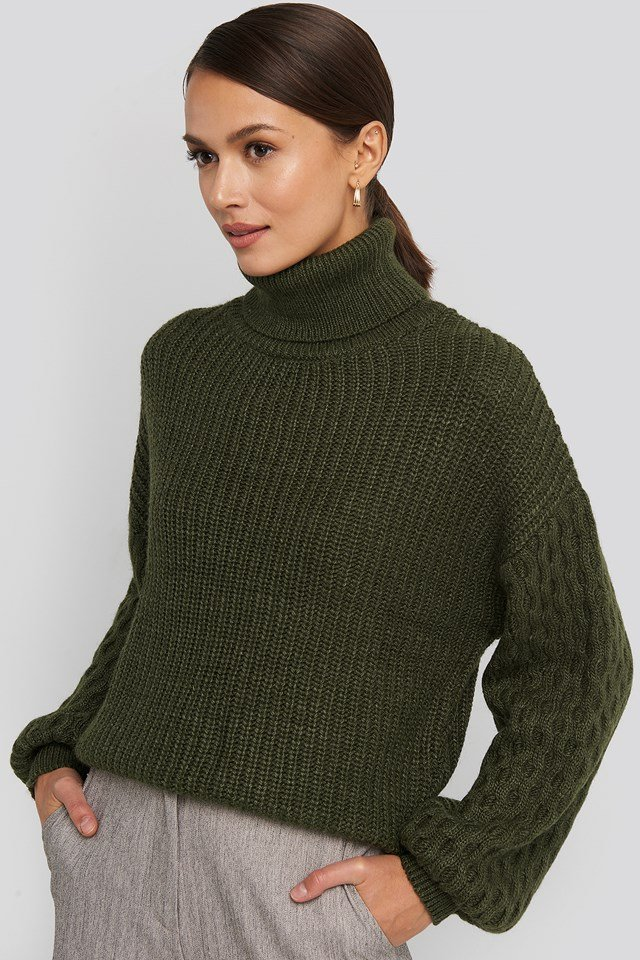 Sleeve Detailed Knitted Polo Sweater Dark Green
