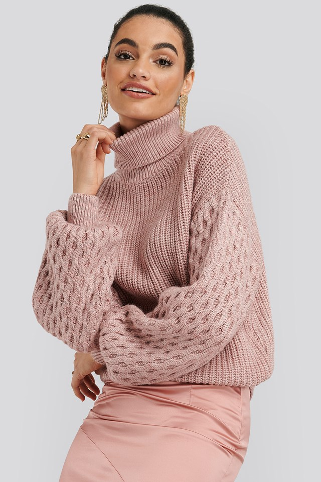 Sleeve Detailed Knitted Polo Sweater Dusty Pink