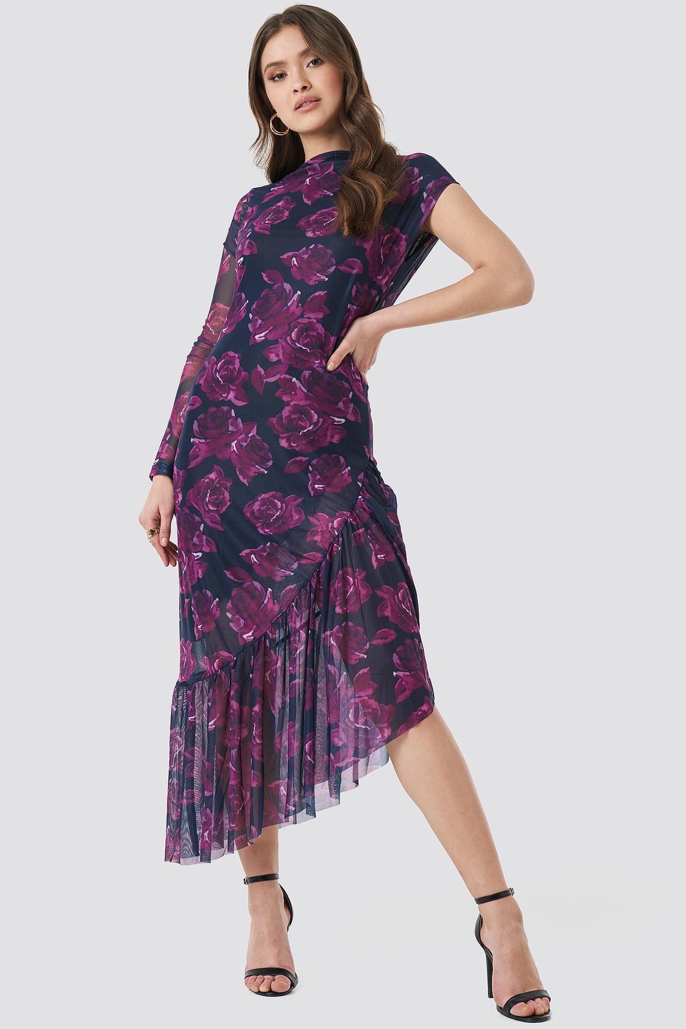 One Sleeve Mesh Dress NA-KD.COM