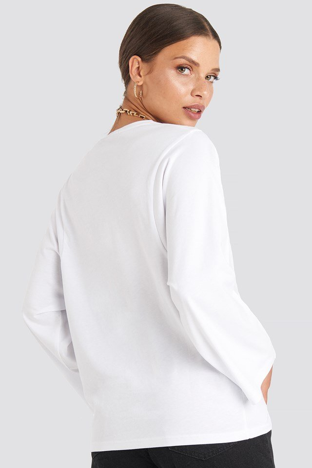 3/4 Sleeve Oversized Tee White