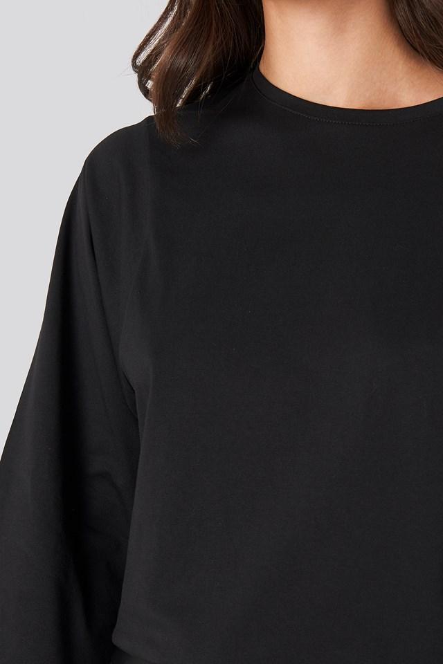 3/4 Sleeve Oversized Tee Black