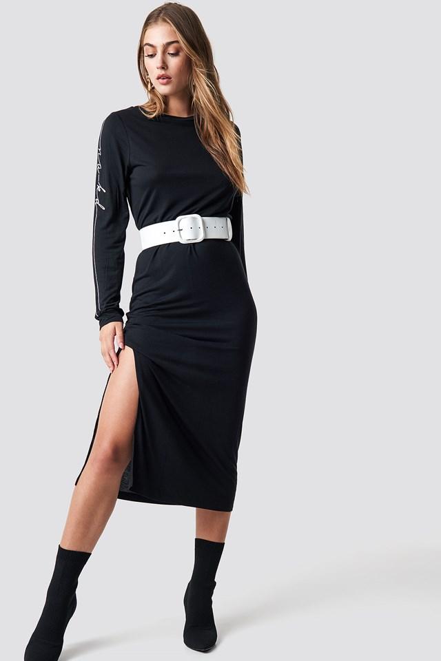 Sukienka Sleeve Print Viscose Black