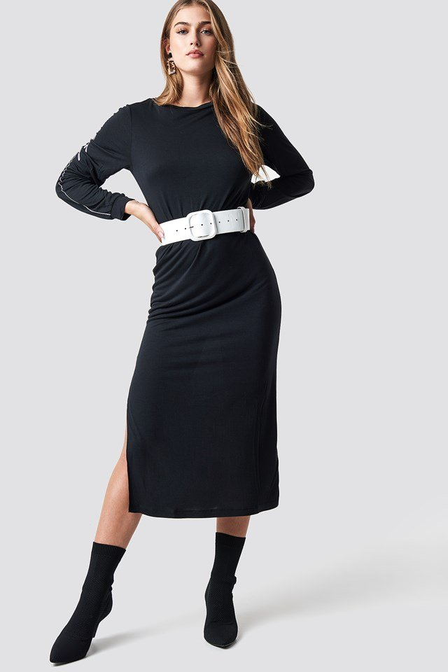 Sleeve Print Viscose Dress Black