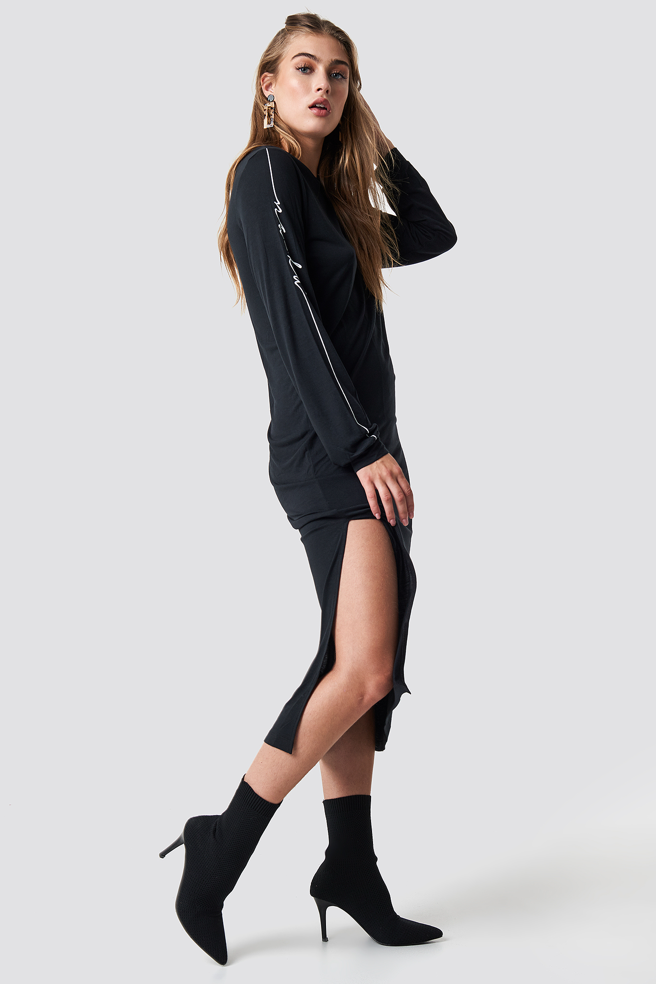 Sukienka Sleeve Print Viscose NA-KD.COM