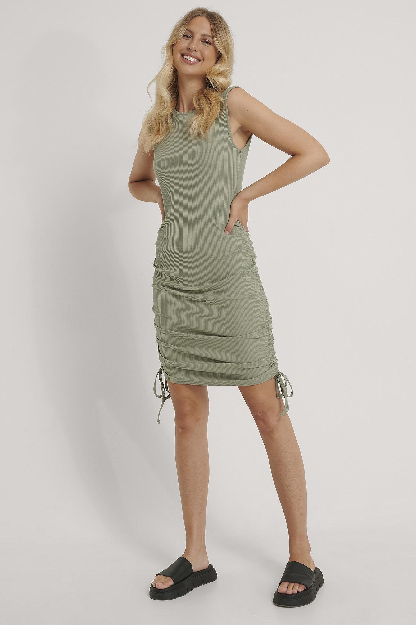 NA-KD Reborn Sleeveless Drawstring Dress - Green
