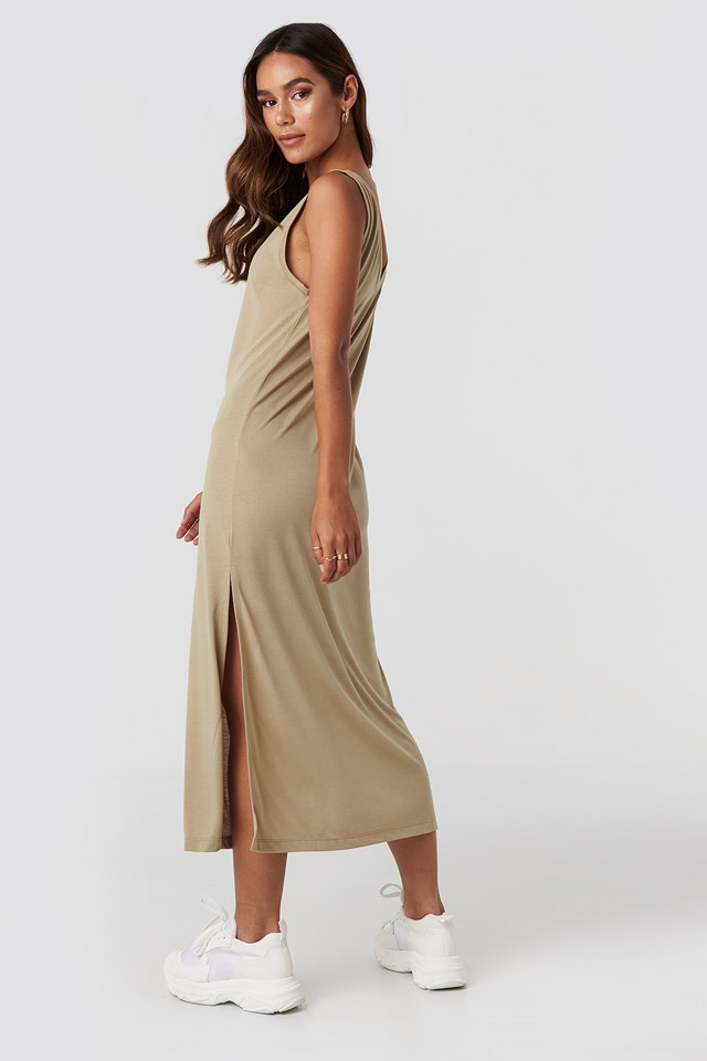 Sleeveless Jersey Midi Dress Beige