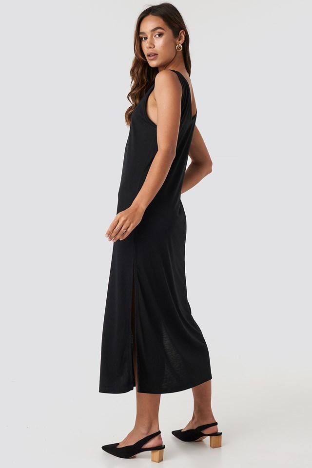 Sleeveless Jersey Midi Dress Deep Black