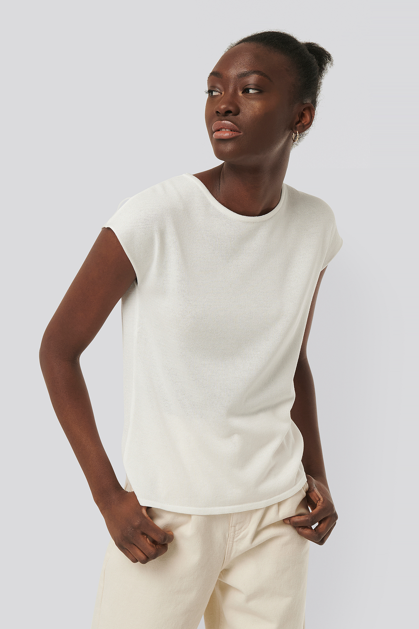 Na-kd Reborn Sleeveless Knit Top - White In Ecru