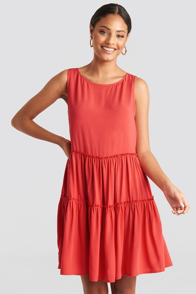 Sleeveless Skater Dress Red