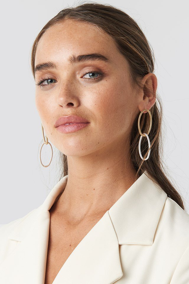 Slim Chained Hoop Earrings Gold/Silver