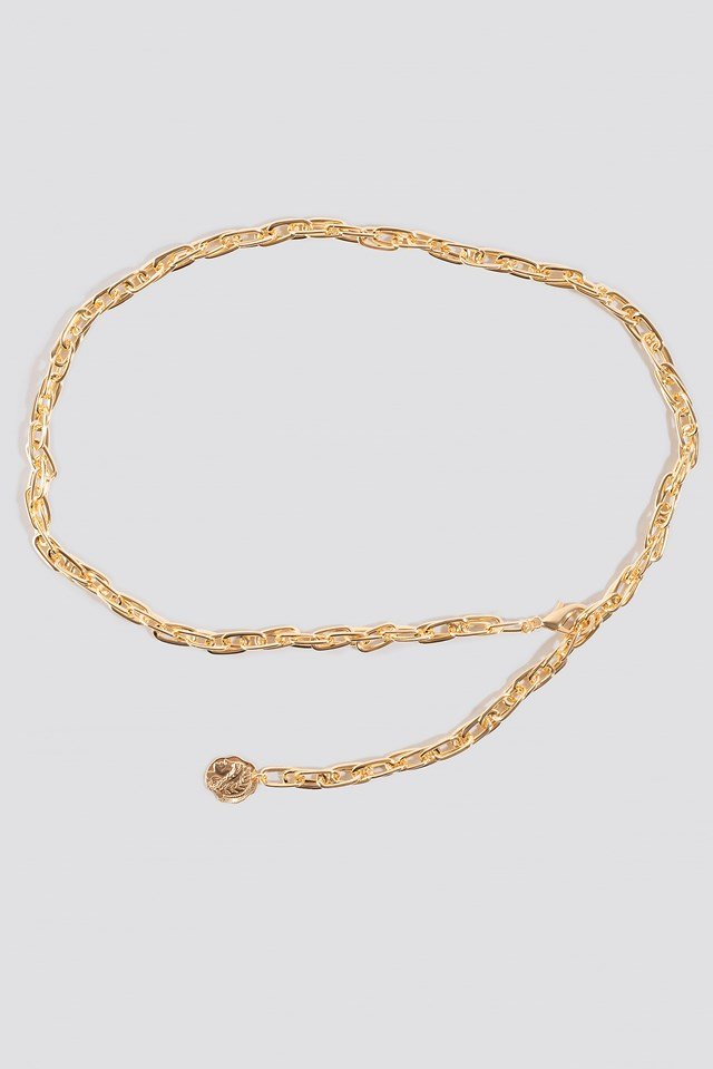 Slim Coin Pendant Chain Belt Gold