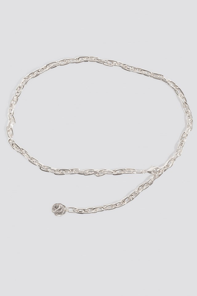 Slim Coin Pendant Chain Belt Silver