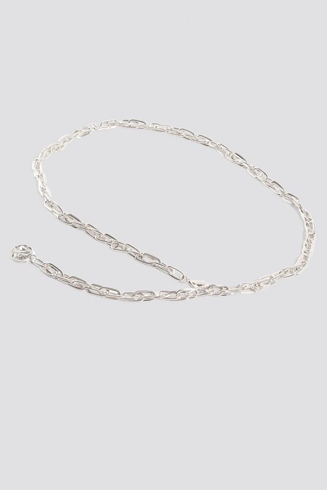 Slim Coin Pendant Chain Belt Silver