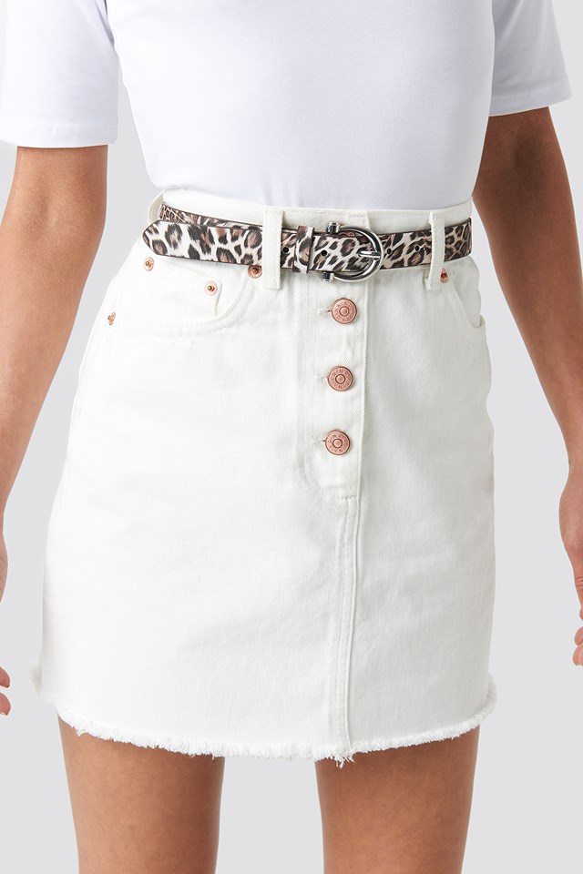 Slim Leo Printed Belt Natural