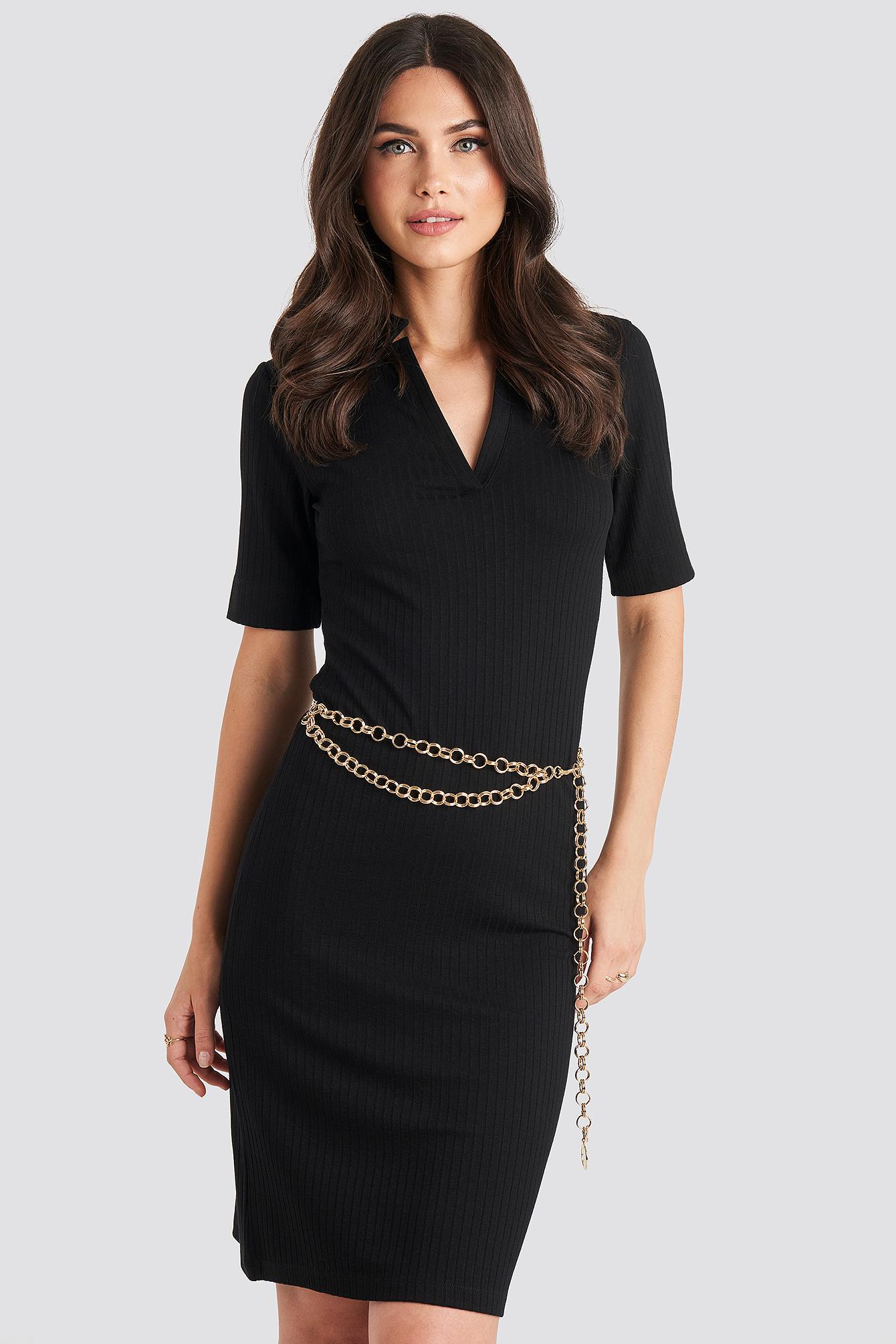na-kd accessories -  Slim Links Chain Belt - Gold