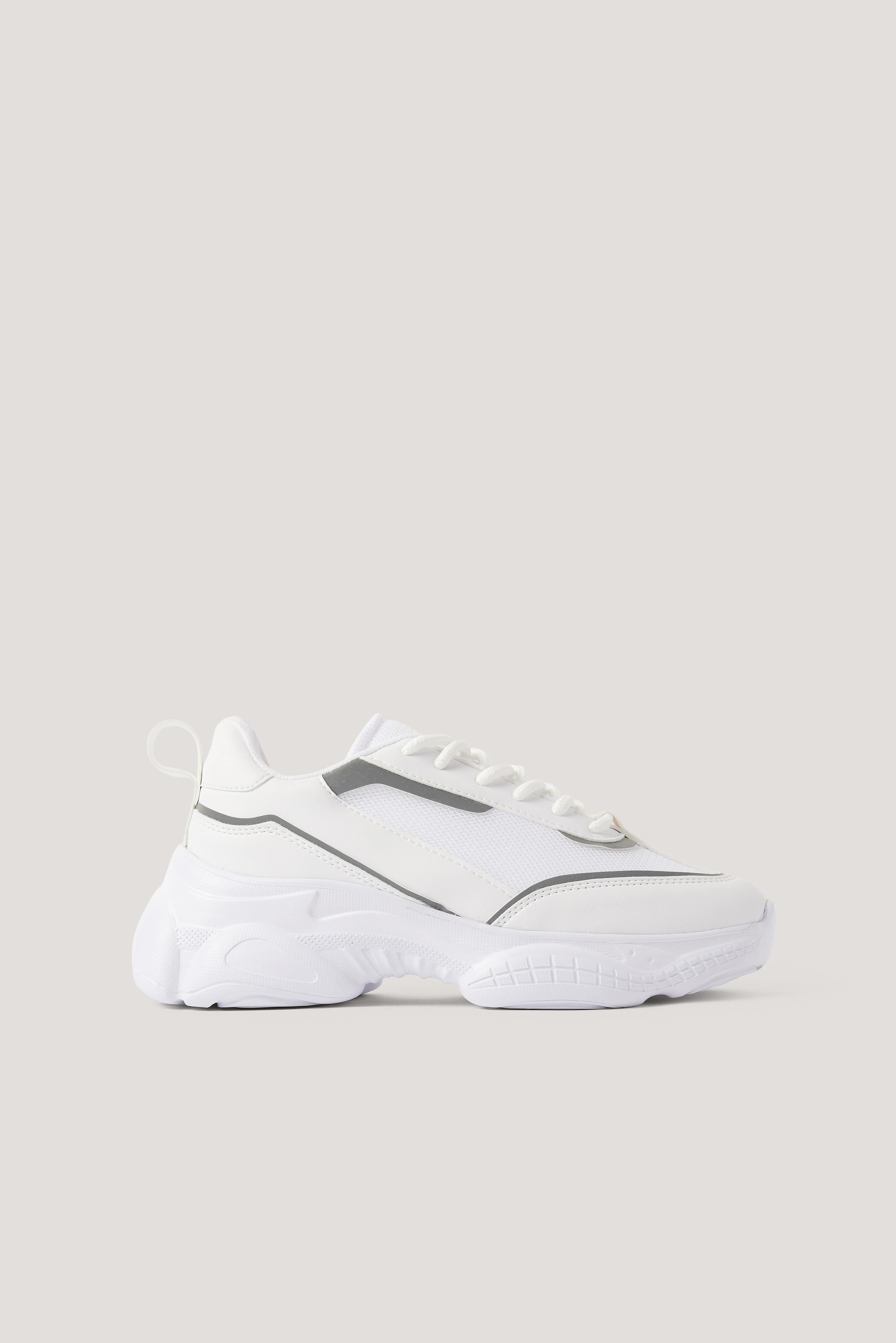 na-kd shoes -  Schmale Mesh-Mix-Turnschuhe - White