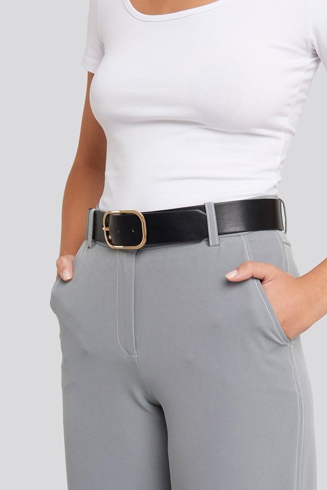 Slim Oval Buckle Belt Black