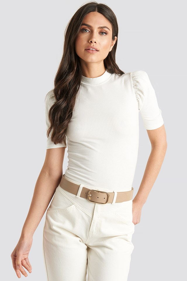 Slim Oval Buckle Belt Nude