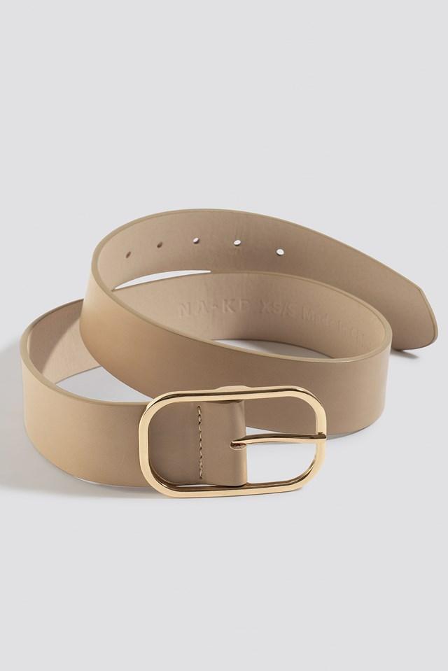 Slim Oval Buckle Belt Nude