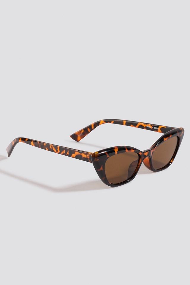 Slim Pointy Cat Eye Sunglasses Tortoise