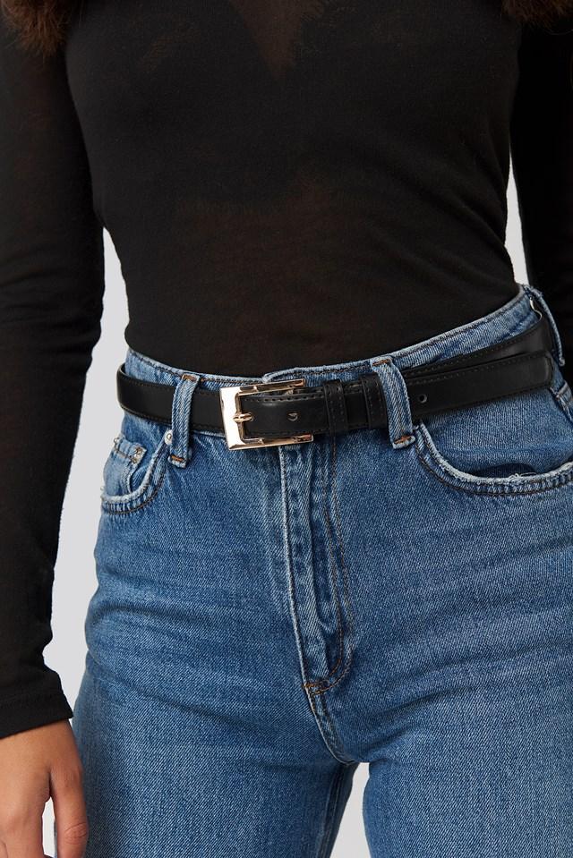 Slim Rectangular Belt Black